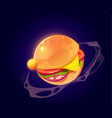 cartoon hamburger planet in outer space vector image