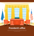 cartoon interior president government office card vector image