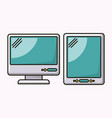 computer desktop and tablet isolated icon vector image vector image
