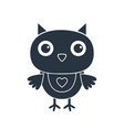 cute cartoon owl isolated on white silhouette vector image vector image