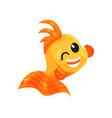 cute smiling goldfish winking funny fish cartoon vector image