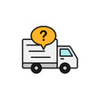 delivery truck question mark icon shipment item vector image