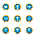 floating air icons set flat style vector image vector image
