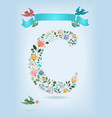 floral letter c with blue ribbon and three doves vector image