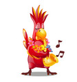 funny red parrot playing a wind musical instrument vector image