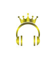 gold king music headphone logo icon vector image