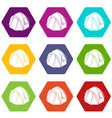 hiking tent icons set 9 vector image