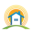 House with sun vector | Price: 1 Credit (USD $1)