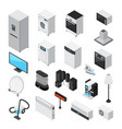 household appliances isometric icons set vector image vector image