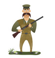 hunter with gun vector image vector image