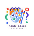 kids club logo colorful creative label template vector image vector image
