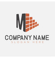 letter m and brick construction logo template vector image vector image