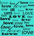 lettering design love pattern words hearts design vector image