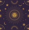 moon sun and stars seamless ornamental pattern vector image vector image