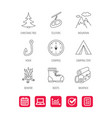 mountain fishing hook and hiking boots icons vector image vector image