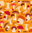 mushrooms autumn seamless pattern with leaves vector image