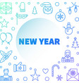 new year creative blue linear square frame vector image