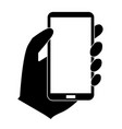 phone in hand icon on white background flat vector image vector image