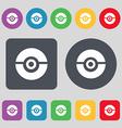 pokeball icon sign A set of 12 colored buttons vector image