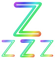 Rainbow line z logo design set vector image vector image