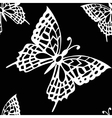 Seamless background of black and white butterflies vector image