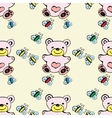 Seamless pattern cute bear and butterfly vector image
