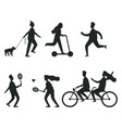 set of black silhouettes of people having fun vector image vector image