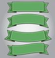 Set of green ribbon banners vector image