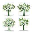 set of green trees with leaf vector image