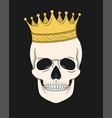 skull with gold crown for t-shirt and other uses vector image
