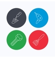 Spatula tool drill and brush icons vector image vector image