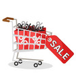 supermarket cart full of packages with discount vector image vector image