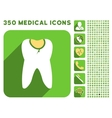 Tooth Caries Icon and Medical Longshadow Icon Set vector image vector image