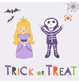 Trick or treat Halloween card with two kids vector image vector image