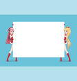 two anime manga woman looks out from behind poster vector image vector image