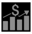 white halftone business chart icon vector image vector image