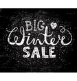 Winter big sale text lettering with heart vector image vector image