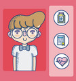young man with medical symbols vector image