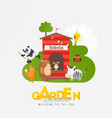 zoo animals in zoological garden ad vector image