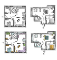Apartment plan with furniture vector image