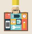 Businessmans suitcase with smartphone wallet vector image