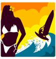 surf and girl vector image