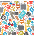background pattern with cinema icons vector image vector image