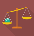 Balance scale with cash money vector image vector image