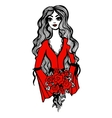 Beautiful girl with red roses in hands vector image vector image