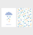 blue smiling cloud with dropping hearts vector image