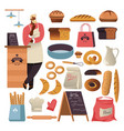 bread or pastry food bakery shop isolated icons vector image vector image