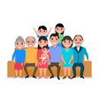 cartoon big happy family on the sofa vector image vector image