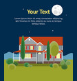 cartoon house building night time banner card vector image vector image