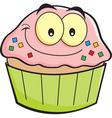 Cartoon smiling cupcake vector image vector image